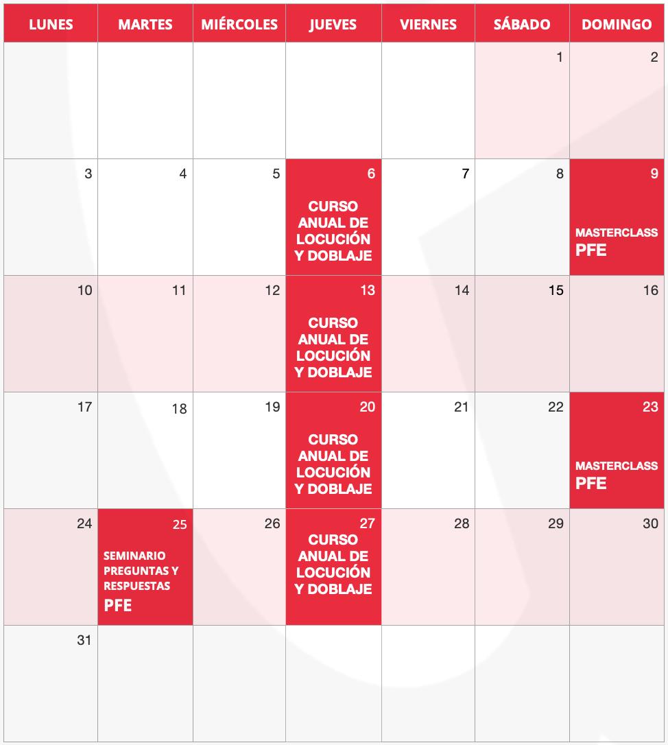 Calendario Instituto Guillermo Morante mayo 2021